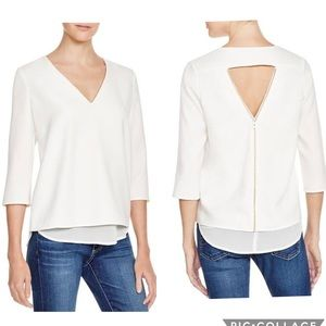 Cooper & Ella Layer Zipper Back Blouse 3/4/ Sleeve